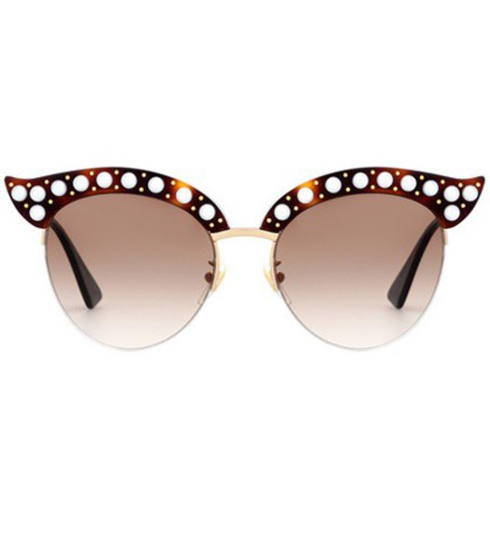 gucci embellished sunglasses brown