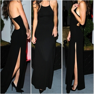 little black dress black maxi dress slit dress dress