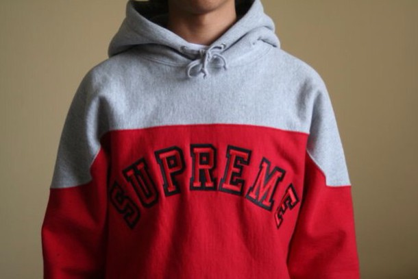 Sweater: top, hoodie, supreme, red sweater, grey, red, supreme ...