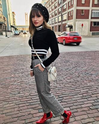 shoes tumblr boots red boots ankle boots patent boots pants grey pants sweater cropped sweater cropped black sweater beret hat sweater weather