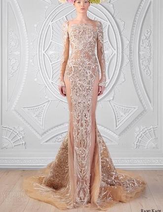 dress wedding sequins swarovski designer dress embroidered dress sheer sheer dress white prom long white sheer dress train long sleeve dress