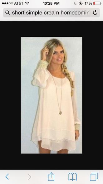 dress flowy blush pink cream dress long sleeve dress simple dress