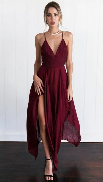 dress burgundy dress prom dress red dress