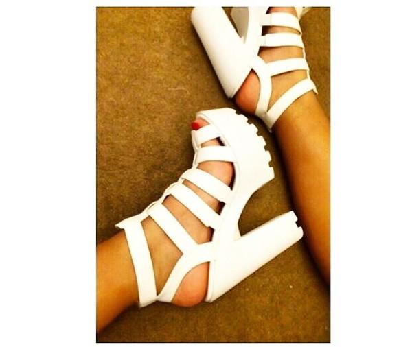 shoes high heels chunky heels white white heels open toed heels white fashion
