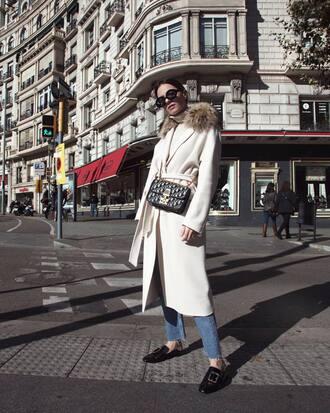 coat tumblr white coat fur collar coat bag black bag denim jeans blue jeans shoes mules sunglasses