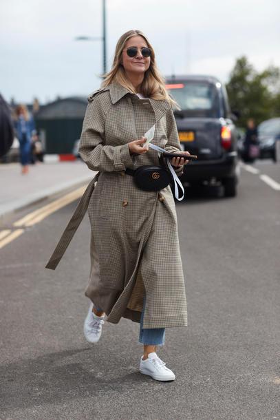 0cdb75213be bag tumblr belt bag fanny pack coat basic oversized grey coat grey long coat  sneakers white