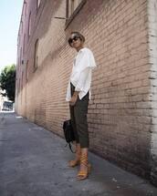 shoes,tumblr,sandals,sandal heels,pants,capri pants,khaki,khaki pants,shirt,white shirt