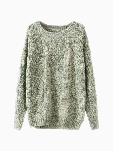 Green Knited Sweater With Jag Side | Choies
