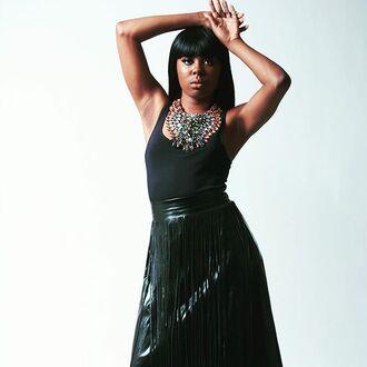 skirt fringe skirt black skirt