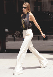white pants,high waisted pants,gigi hadid,celebrity style,celebrity,model off-duty,top,black top,sunglasses,black sunglasses