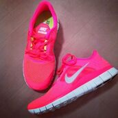 shoes,nike,pink,fluo,pink shoes cute,trainers,running shoes,gym,sports shoes,workout,illuminous,hot pink,new shoes