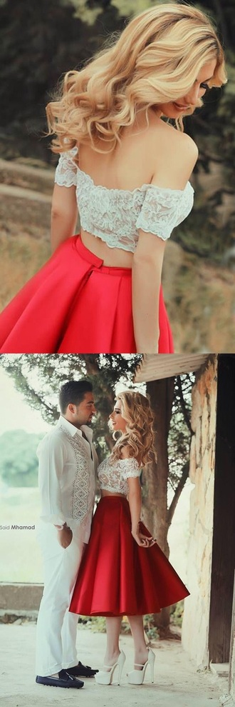 dress romantic dress date dress red skirt white lace top flare skirt