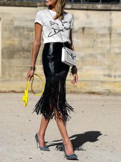Black pu tassels pencil skirt
