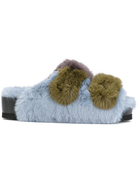 Suecomma Bonnie fur faux fur women sandals blue shoes