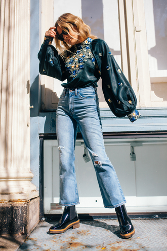 shoes tumblr boots black boots denim jeans blue jeans puffed sleeves ripped jeans cropped jeans