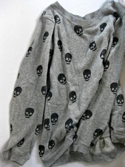 skull sweater/sweatshirt skull sweater grey