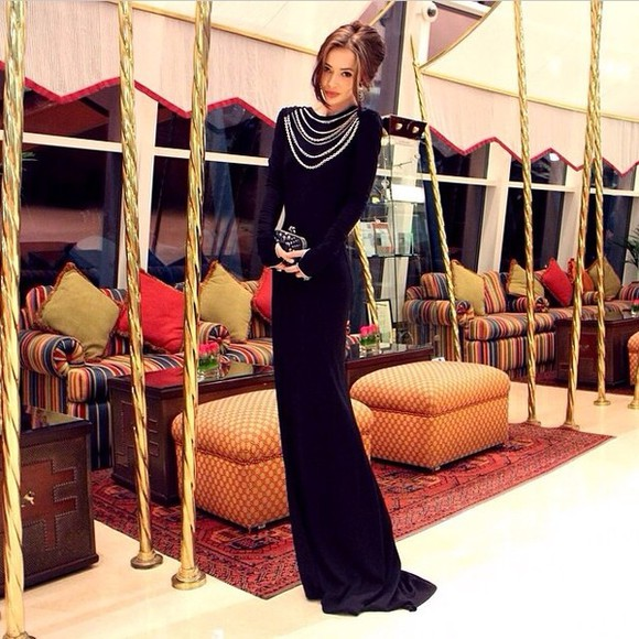 chains black dress long evening dresses long prom dresses prom dress long sleeve dress