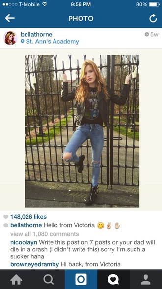 jacket bella thorne marvel shirt t-shirt jeans boots shoes blue jeans ripped jeans pants