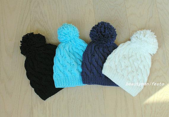 5fd1c4838 Women's Pom Pom Beanie,nitted Beanie, Beanie,Cable Knit Beanie,Knitted  Hat,Navy,Mint, Black, Hat,Slouchy Beanie,Women's Winter Hat.