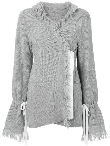 Sacai - frayed edge cardigan - women - Cupro/Wool - 2, Grey, Cupro/Wool