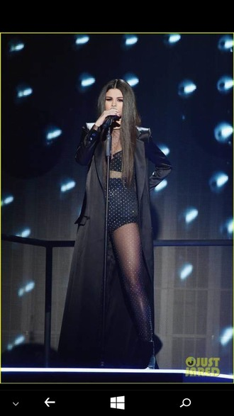 jumpsuit bodysuit all black everything long hair black bralette black bra high waisted black panties long black coat trench coat trendy american music awards selena gomez sheer cystals shinny heels shiny embellished embroidered