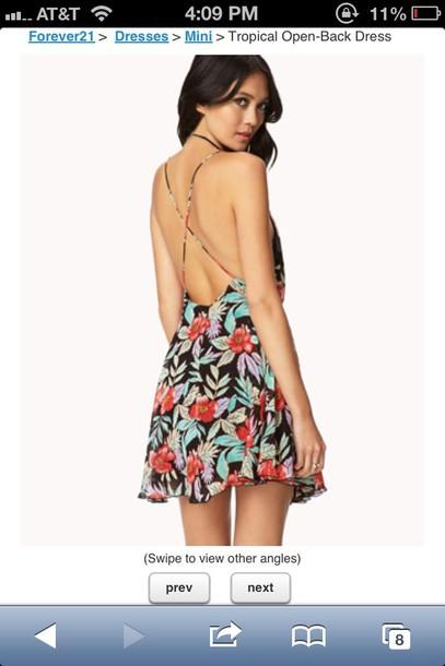 121762935117d summer dress, forever 21, hawaiian, floral, open back dresses, cross ...