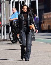 top,blouse,sheer,wide-leg pants,shanina shaik,streetstyle,model off-duty,fall outfits,jeans
