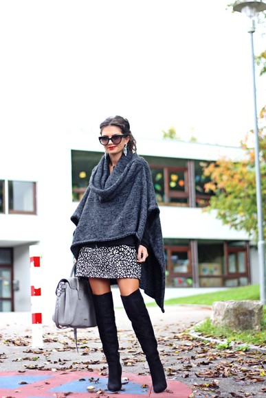 blouse coat knitwear fashionhippieloves blogger bag knee high boots