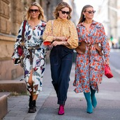 top,high neck,jeans,floral skirt,midi dress,belt,sunglasses