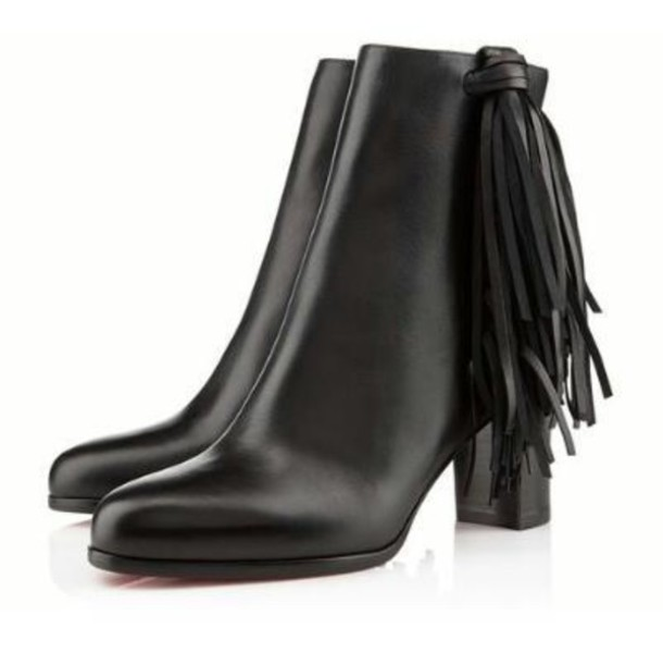 shoes ankle boots tassle pleather