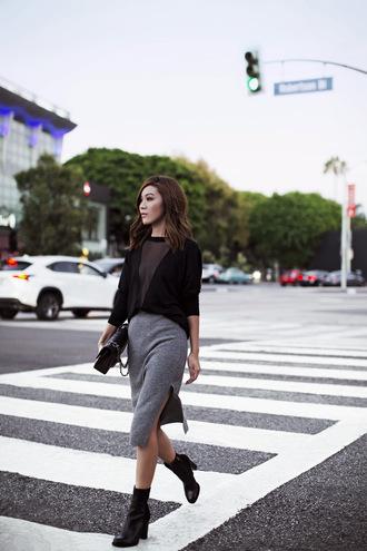 tsangtastic blogger grey skirt slit skirt black sweater sheer black boots fall outfits