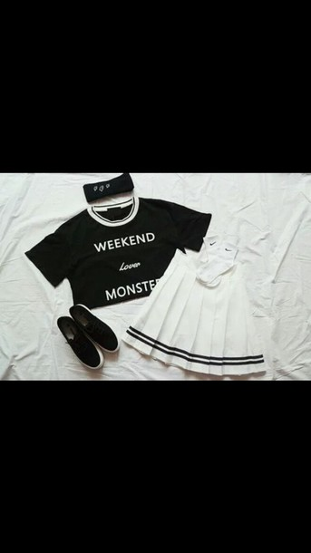 skirt white skirt short skirt tennis skirt pleated skirt cute back to school white black band band stripes stripes baseball cool tumblr teenagers girl 90s style grunge pastel goth fashion style summer spring black and white t-shirt