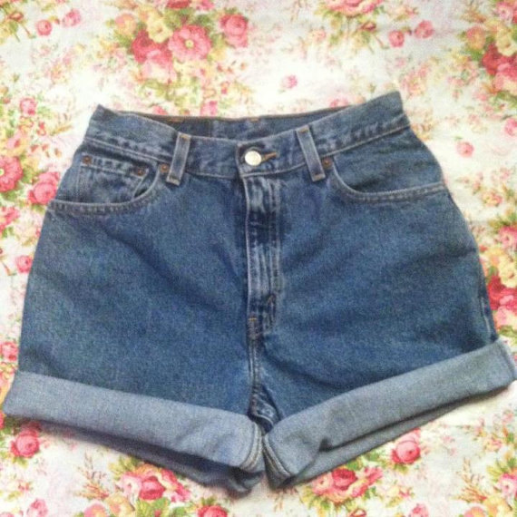 High Waisted Rolled Up Shorts by CuteAddicts on Etsy