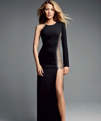 dress blake lively black dress one shoulder open leg