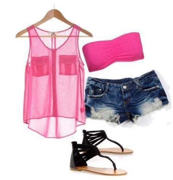 tank top pink love short shirt blue black t-shirt blouse see through pockets