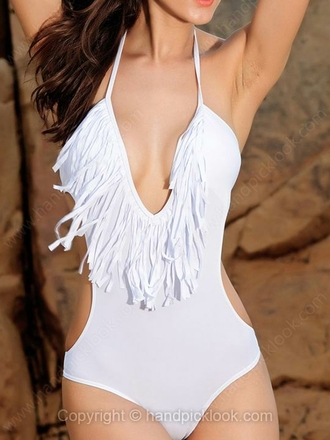 swimwear one piece swimsuit white white monokini white swimwear fringes fringe swimsuit fringe monokini deep v neck deep v halter halter monokini halter swimsuit