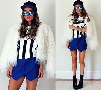 t-shirt shirt crop tops top skirt shorts blue skirt coat fur fur coat jacket sweater cardigan bottoms clothes fashion boots shoes sunglasses hat cap snapback outfit blackfive