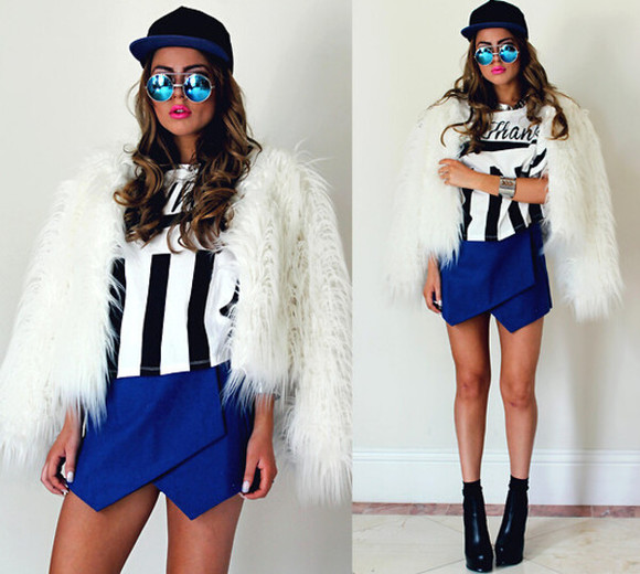 coat fashion jacket fur cardigan fur coat top clothes t-shirt shirt crop tops skirt shorts blue skirt sweater bottoms boots shoes sunglasses hat cap snapback outfit blackfive