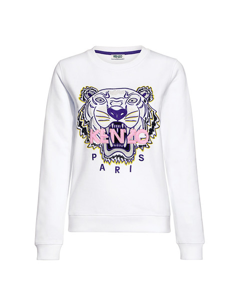Tiger Paris Embroidery Classic French Terry Sweatshirt White