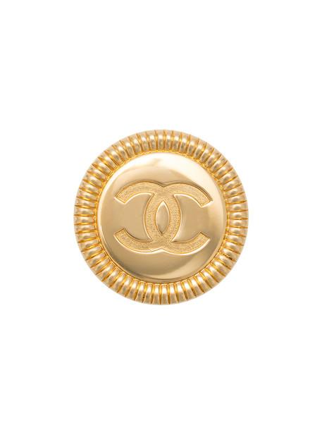 Chanel Vintage large CC logo medallion belt buckle - Metallic