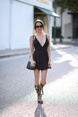 shoes little black dress black handbag black gladiators blogger sunglasses