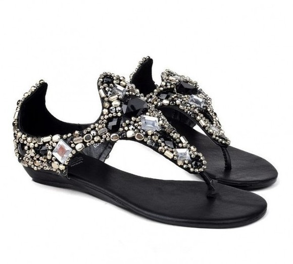 shoes sandal rhinestone black