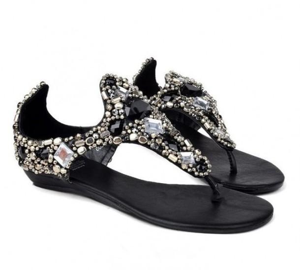 e3d9d90d6 shoes sandals black rhinestones