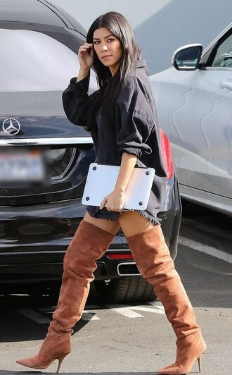 shoes shirt shirt dress kourtney kardashian kardashians over the knee boots fall outfits streetstyle