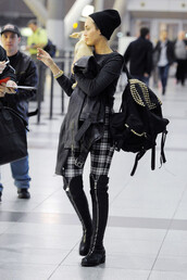 shoes,boots,black,miley cyrus,studs,airport,tumblr outfit,over the knee boots,knee high boots,pants,bag