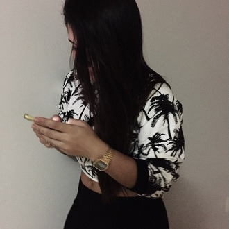 shirt tumblr outfit black and white palm tree cropped sweater