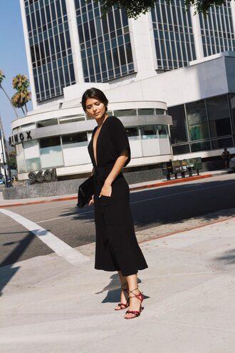 dress tumblr midi dress black midi dress black dress sandals sandal heels high heel sandals plunge v neck v neck shoes