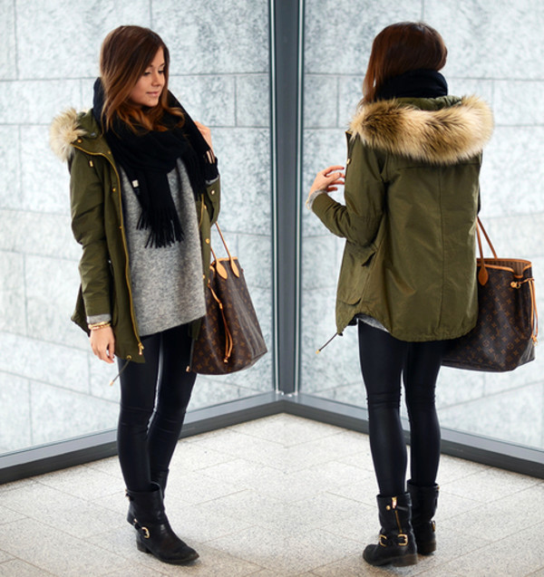 New Faux Fur Hooded Army Green Outwear Winter Autumn Overcoat ...