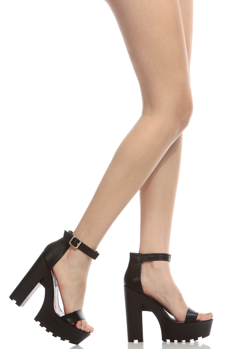 Faux Leather Ankle Strap Lug Sole Chunky Heels @ Cicihot Heel