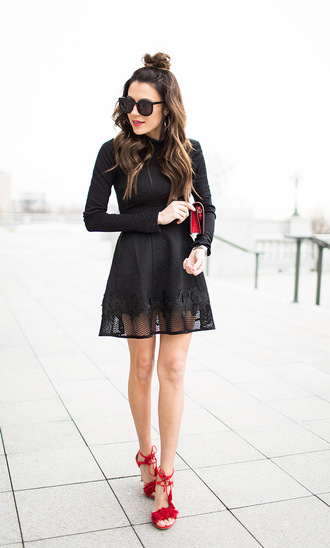 hello fashion blogger sunglasses black dress mini dress mini bag red shoes
